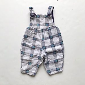 Vintage Lined 90s print overalls fits 12-18m